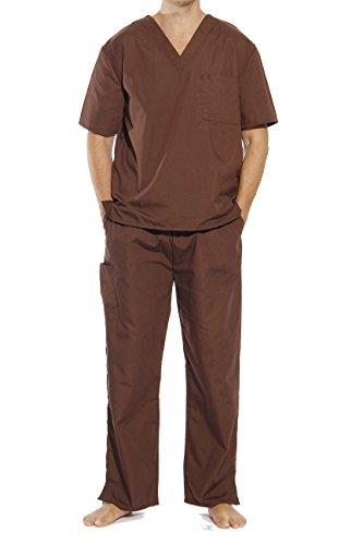 (Tropi 33300M-Chocolate-S Unisex Scrub Sets Medical Scrubs Mens Scrubs)