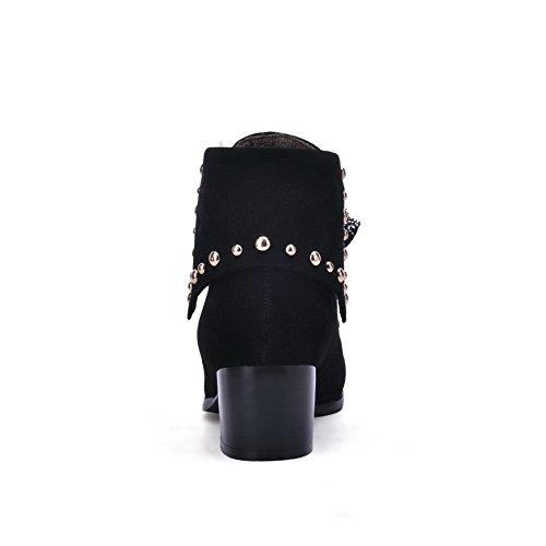 BalaMasa Girls Bandage Riband Studded Rivet Frosted Boots Black PfoZsi5R