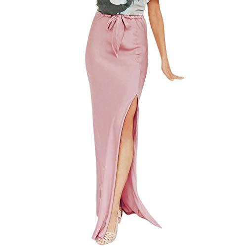 Sexy Cocktail Long Skirt Beautyfine Women's Summer High Waist Lady Fashion Club Wrap Dress Pink