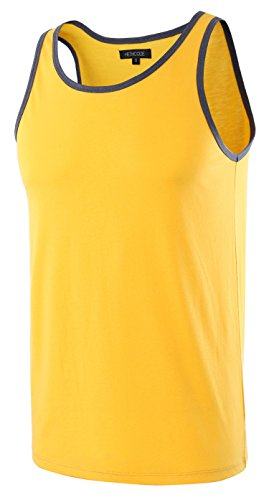 Classic Cami (HETHCODE Men's Classic Basic Athletic Jersey Tank Top Casual T Shirts Apricot Gold/Cadet Blue L)