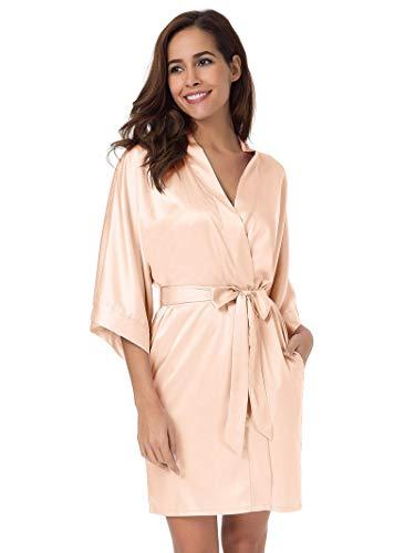 SIORO Women's Satin Robe,Silky Kimono Bathrobe for Bride Bridesmaids,Wedding Party Loungewear Short,Shell Pink ()