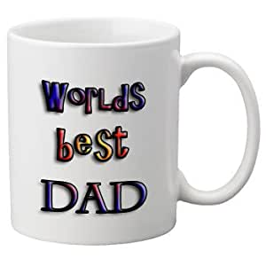Worlds Best Dad (Multi Colour Design) 11oz Mug. A Great Gift For Fathers Day, a Birthday or Christmas.