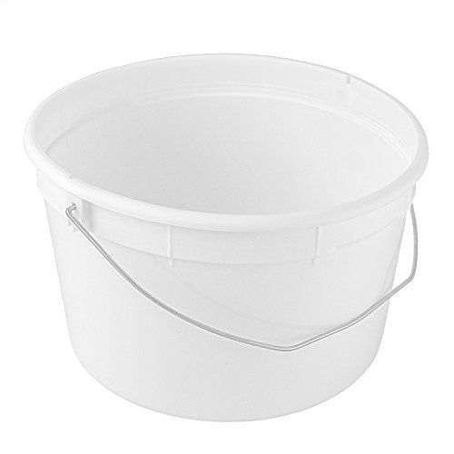 - 4 Qt./1 Gallon Food Grade Round White Plastic Bucket with Wire Handle - 20 Pack - BUCKETS ONLY - NO Lid Available