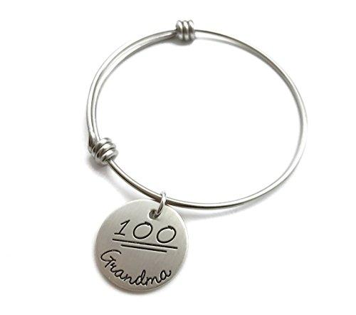 Best Grandma Gift   100 Percent Grandma Bangle Bracelet   Perfect Nana   Mimi   Hand Stamped Jewelry   Personalized Engraved Jewelry