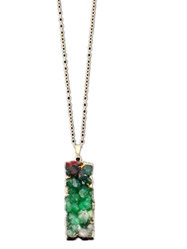 96fe85c8c Buy TBOP Necklace The Best of Planet Simple and Stylish Jewelry Natural  Stone Geometric Rectangular Pendant Necklace in Green Color Online at Low  Prices in ...