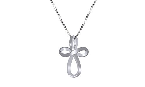Sterling Silver Open Loop Cross Pendant Necklace 16