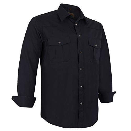 Coevals Club Men's Long Sleeve Casual Western Plaid Snap Buttons Shirt (3XL, Black)
