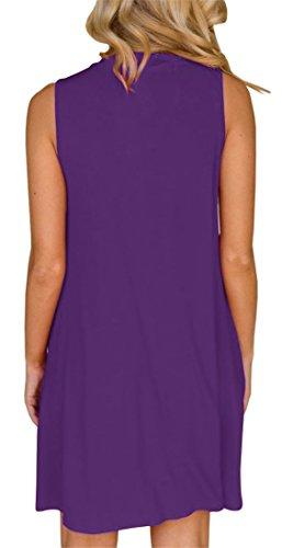 Dress Purple Gemijack Halter Sleeveless Mini Dresses Out Casual Summer Shirt Swing T Short Cut Womens 66qCxHrOw