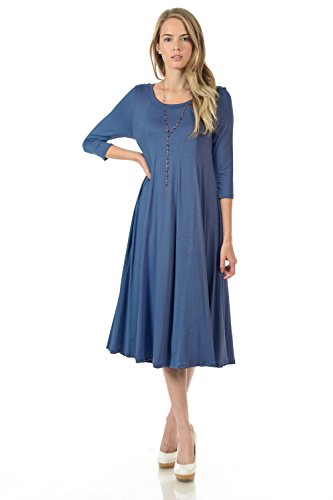 Pastel by Vivienne Women's A-Line Trapeze Midi Dress Medium - Dress Stretch Knit Denim