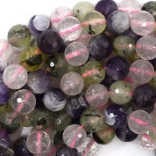 Faceted Multi Stone Round Beads 15.5