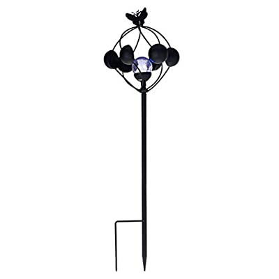 Compass Home Black Metal Solar 2-in-1 Wind Spinner with LED Crackle Glass Sphere: Garden & Outdoor