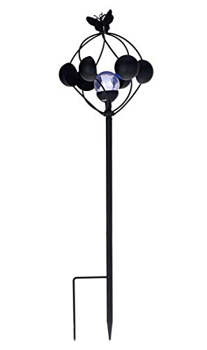 Compass Home Black Metal Solar 2-in-1 Wind Spinner with LED Crackle Glass Sphere