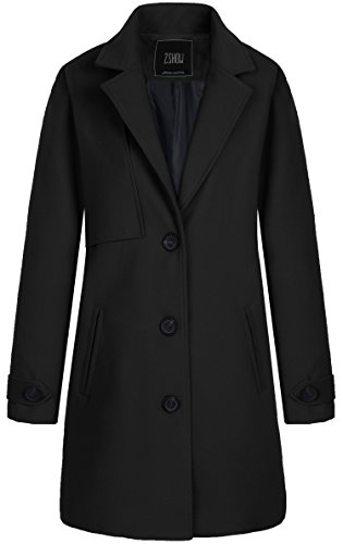 ZSHOW Women's Single Breasted Solid Color Classic Pea Coat (Small, Black) ()