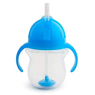 Munchkin Any Angle Click Lock Weighted Straw Trainer Cup, Blue, 7oz