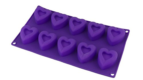 Bakerpan Silicone 10 Cavity Heart Mold for Jello's, Marshmallows, Chocolates & Cookies 2 Inch Heart Shapes