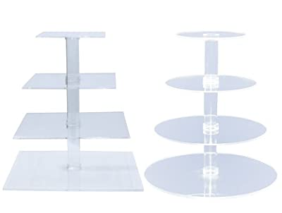 4-Tier Stacked Party Cupcake and Dessert Tower - Clear Acrylic Cake Stand - BY OFEH