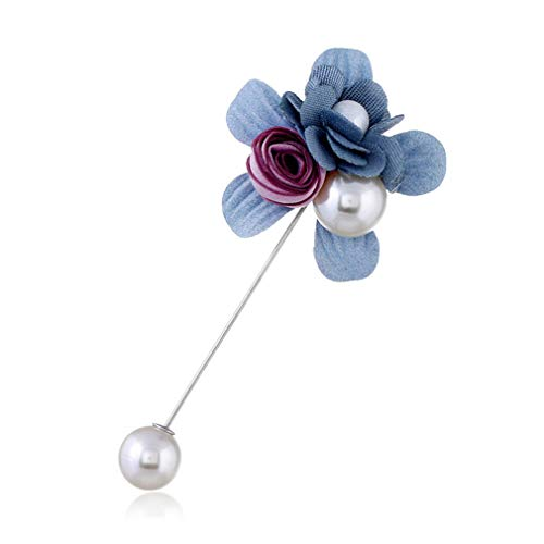 Women Handmade Muslim Flower Design Pearl Brooch Lapel Scarf Pin Suit Stick Brooches Wedding For Women Valentine Gift blue
