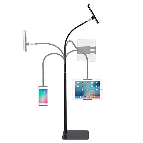 360 Degree Rotating Tablet Floor Stand Flexible Gooseneck Adjustable Holder for Cell Phone Tablet Within 3.5-10.6 inches (Black) (Black)