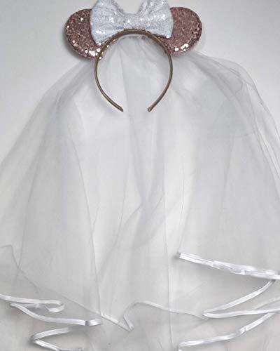 CLGIFT Bride Minnie Mouse Ears Headband, White Veil Bride Minnie Ears, Honeymoon Ears, Wedding Ears, Bachelorette Party Ears (Rose Gold & White)