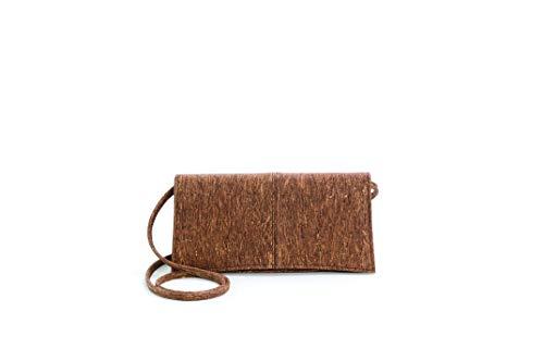 Artelusa Cork Clutch Pochette Handbag Brown/Gold Removable Strap Eco-Friendly Handmade in Portugal
