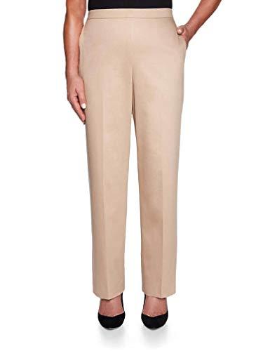 Cotton Sateen Ankle Length Pant - Alfred Dunner Women's Petite Good to Go Sateen Pants - Medium Length, Tan, 12 Petite