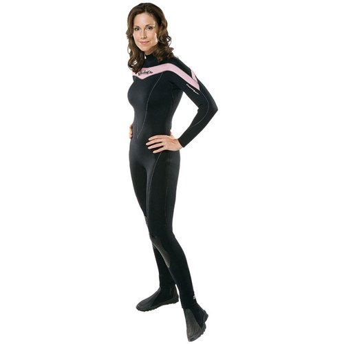 Henderson Thermoprene 5mm Women's Jumpsuit (Back Zip) ~ Dive Pink & Fight Breast Cancer. Includes a $50 Donation. - Black/Pink - Small, 6 (5 Mm Thermoprene Jumpsuit)