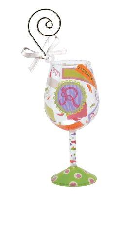 Santa Barbara Design Studio Lolita Hand Painted Mini Wine Ornament, Letter R (Ornament Glass Lolita Wine)