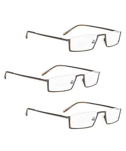 READING GLASSES 3 pack Metal Half-Rim Readers (Gunmetal, 0.75)