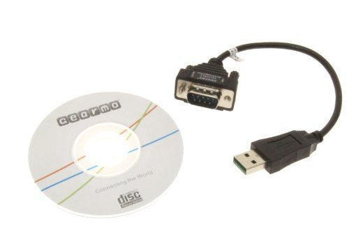 Gearmo Windows 7 64-bit Compatible USB to Serial Adapter RS232 DB9 Short 8 Inch Cable
