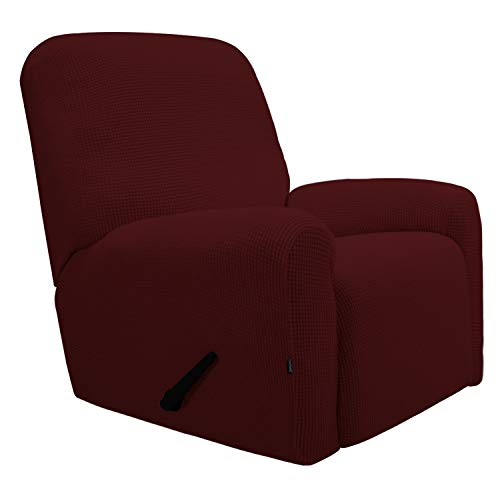 Easy-Going Recliner Stretch Sofa Slipcover Sofa Cover 4-Pieces Furniture Protector Couch Soft with Elastic Bottom Kids, Spandex Jacquard Fabric Small Checks(Recliner,Wine)