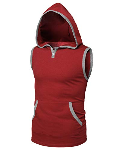 H2H Men's Workout Hooded Tank Tops Sleeveless Gym Shirts with Kangaroo Pockets Wine US S/Asia M (CMTTK031) ()
