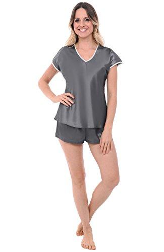 Womens Satin Pajamas, Short Sleeved V-Neck with Shorts, XL Steel Grey (A0791STLXL) (Set Satin Steel)