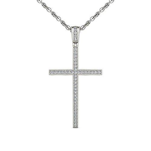 De Couer DZON S925 Sterling Silver 1/6ct TDW Diamond Cross Necklace (I-J, I2) ()