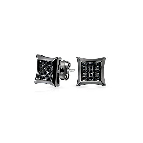 - Black Square Shaped Cubic Zirconia Micro Pave CZ Kite Stud Earrings For Men Black Plated 925 Sterling Silver 7MM