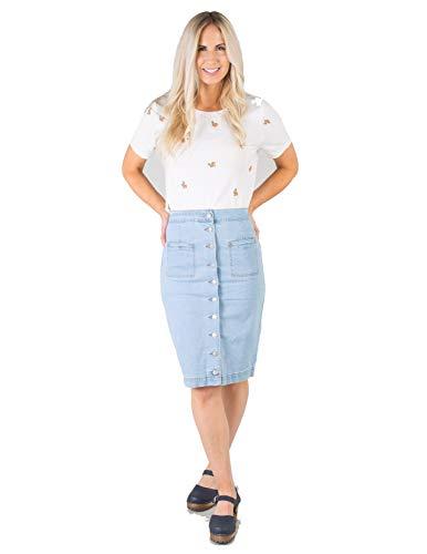 South Shore MID/HIGH Waist Knee Length Button-UP Denim Skirt with Pockets Light Denim Small ()