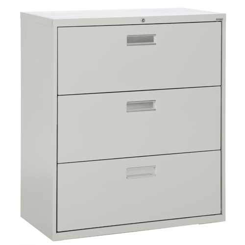 Sandusky Lee LF6A363-05 600 Series 3 Drawer Lateral File Cabinet, 19.25'' Depth x 40.875'' Height x 36'' Width, Dove Gray