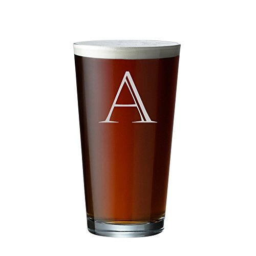 Engraved Pint Glass - Personalized Beer Glass - Custom Pint Glass - Big Initial - Last Name - Housewarming - Wedding - G -