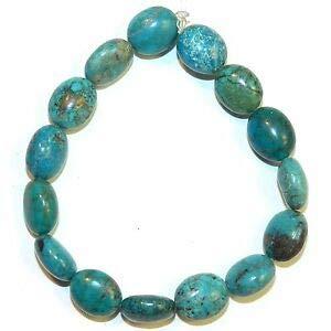 T1521fj Blue-Green Turquoise 14mm Polished Puffed Flat Oval Gemstone Beads 8