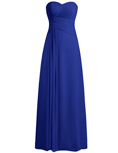 Prom Party Chiffon Dresses Long Evening Strapless Bridesmaid M Jaeden Dress Royal Blue Gown Sweetheart FKc3T1Jl