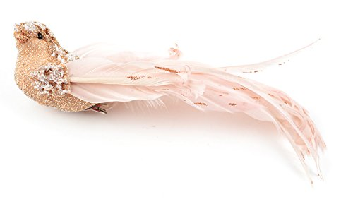 Touch of Nature 1-Piece Fancy Feather/Glitter Bird on Clip, 9-Inch, Blush