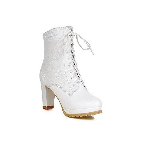 AdeeSu Womens Casual Round-Toe Slip-Resistant Rhinestones Urethane Boots SXC01796 White m2PvF5wOK