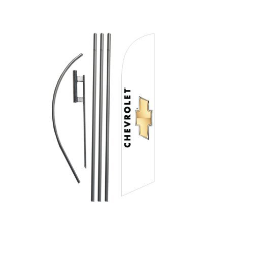 NEW Custom Chevrolet 15ft Feather Banner Swooper Flag Kit - INCLUDES 15FT POLE KIT w/ GROUND SPIKE