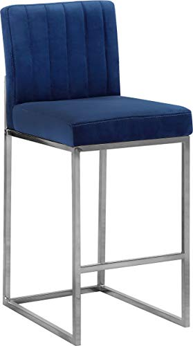 Meridian Furniture 782Navy-C Giselle Collection Modern | Contemporary Navy Velvet Upholstered Counter Stool with Polished Chrome Metal Base, 16