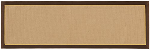 HF by LT York Jute Runner, 2-1/2' x 8', Durable Micro Boucle with Two-Tone Cotton Framed Border, Slip Resistant Latex Backing, Coffee, Four Colors Available
