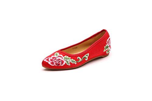 Gules Zapatos tacón Mujer de Alpargatas Bordado de Merceditas Viento Zapatos de Zapatos Retro Crudo de Bordado Nacional qftfXanW