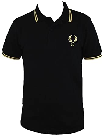7ab91ad6 Fred Perry 100 Year Limited Edition Centenary Mens Polo Shirt (Medium, Black/Champagne/Champagne):  Amazon.co.uk: Clothing