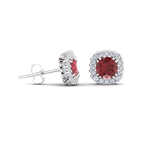 Diamondere Natural and Certified Ruby and Diamond Halo Stud Earrings in 14K White Gold | 1.34 Carat Earrings for ()