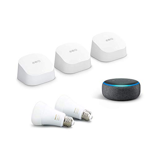 Amazon eero 6 mesh WiFi system bundle with Echo Dot, Charcoal and 2 Philips Hue Bulbs, White