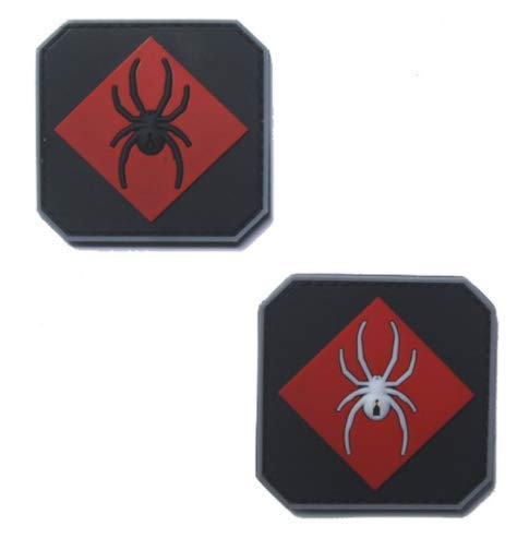 2pcs Black Widow Soldier Military PVC Patch Rubber Badges Patch Tactical Stickers for Clothes Back with Hook -
