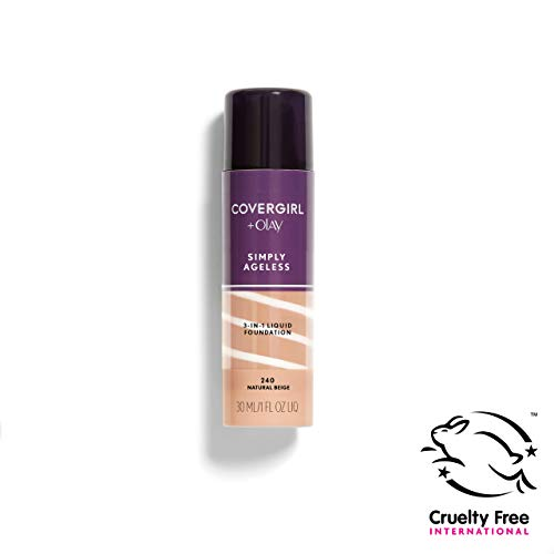 COVERGIRL Simply Ageless 3-in-1 Liquid Foundation, Natural Beige 240, 1 oz (Packaging May Vary)